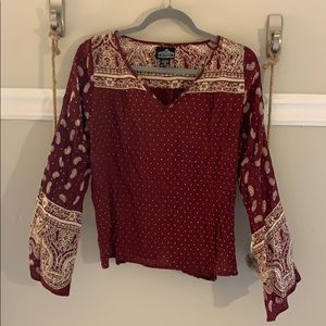 Angie Burgundy Patterned Top